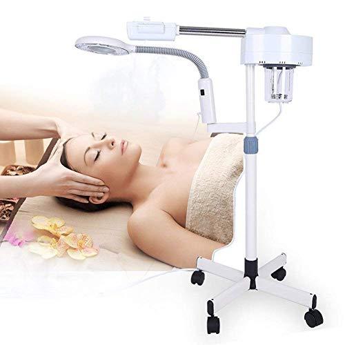 2 in 1 Vaporizzatore con Lampada d'ingrandimento Ingrandimento 5X, sauna facciale con Ugello ruotato di 360 gradi, Mist vapore cura della pelle con Stativo Regolabile
