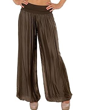 CASPAR KHS010 Pantalones Anchos para Mujer de Seda / Pantalón de Harén con Cintura Elástica