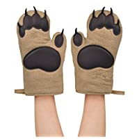 Fred & Friends Bear Hands Heat Resistant Oven Gloves, Brown