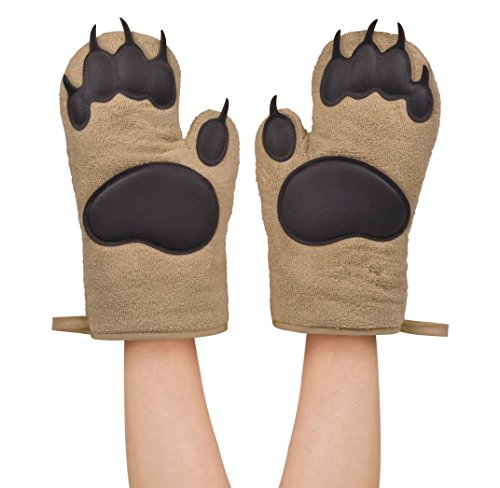 Fred & Friends Bear Hands Oven Gloves Heat Resistant, Brown