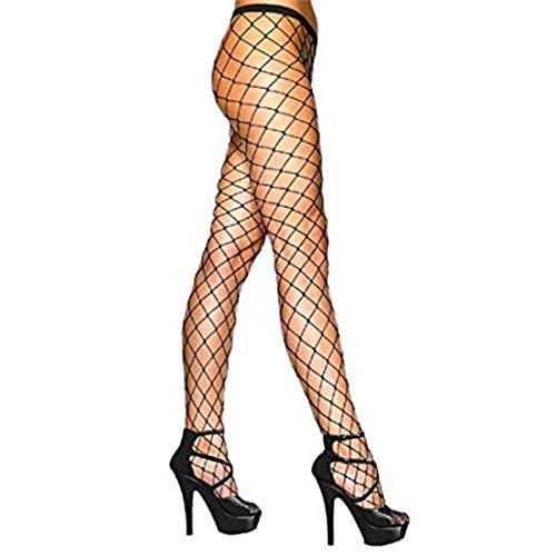 Alavando Sexy Netzstrumpfhose Netz Strumpfhose grobe Maschen Schwarz Strumpf Hose Kostüm Fasching, Karneval als Kostüm und passend zu Crop Tops Schwarz reißfest One Size