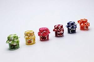 6 pot en verre de confiture de fruits ensemble Dollhouse miniature épiceries artisanales