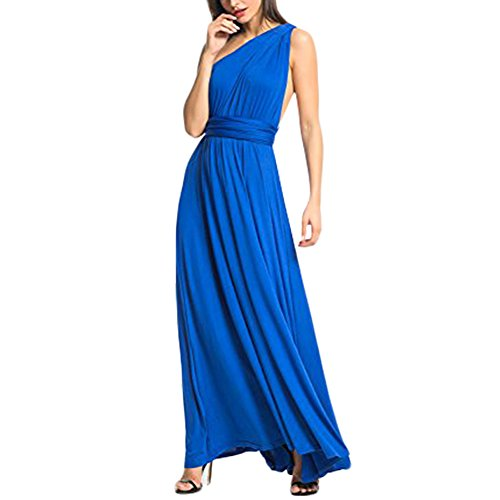 Lover-Beauty Kleider Damen V-Ausschnitt Rückenfrei Neckholder Abendkleider Elegant Cocktailkleid Multi-Way Maxikleid Lang Chiffon Party Kleid