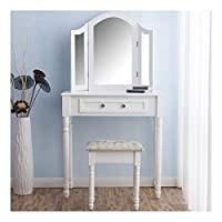 CherryTree Furniture Dressing Table 3 Way Mirrors Triple Mirror Makeup Dresser Set with Stool