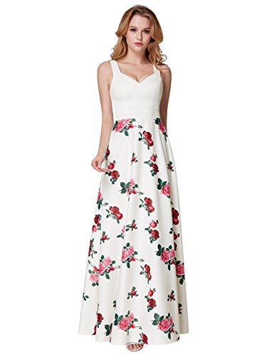Ever Pretty Women's Fit and Floral Contrast Colour with Pocket Formal Dresses White 12UK