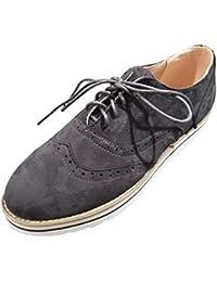 Zapatos planos casual con correa de mujer,Sonnena ❤️ Zapatos de punta redonda para mujer Color sólido fondo plano de longitud de tobillo casuales de cordones de gamuza deporte