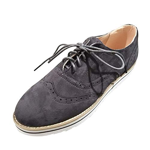Strungten Womens Lace Up Loafers perforierte Oxfords Schuhe Casual Platform Wingtip Brogue Sneakers Flache atmungsaktive einzelne Schuhe Champion Oxford Sneaker
