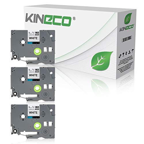 Kineco 3 Schriftbänder kompatibel für Brother TZE-221 9mm/8m - Schwarz auf Weiß P-Touch 1000 1010 1080 1090 1200 1200P 1230PC 1250 1280 1290 1750 1800 1850 200 220 2400 2450 2460 2470 2480 300 310