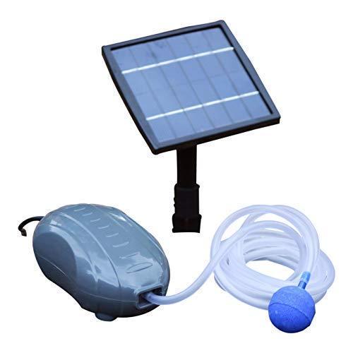 PK Green -  Oxigenador Pesca Solar para Estanque, Jardín - Bomba de Aire Solar 1,5W - Aireador Exterior con 1 Piedra de Aire