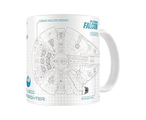 SD Toys-Mug SDTSDT89003 Star Wars Episode 7 Faucon Blueprint Blanc/Bleu