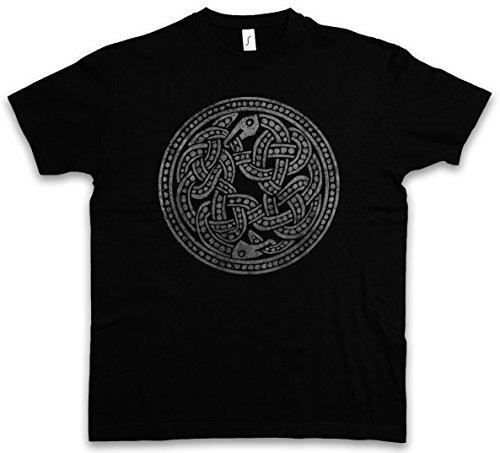 Urban Backwoods Norse Snakes T-Shirt – Serpente Mitologia norrena Walhall Walhalla Ravens Odin Thor Mjölnir Loki Midgard Wikinger Kelten Rune Taglie S – 5XL Nero
