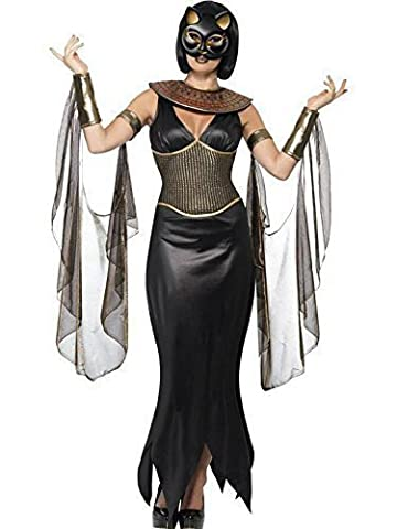 Ladies Cat Goddess Egyptian Halloween Fancy Dress Costume. Small 8-10)