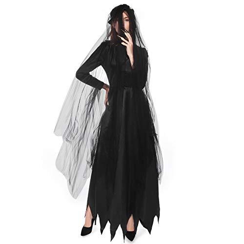 Lady Dark Women's Kostüm - BERTHACC Hexe Kostüme Damen Halloween, Spitze Langes Kleider Mit Kapuze Zauberin Zip Cosplay Kostüm Fasching Karneval Festival Dark Lady Verkleidungper Adulti,Schwarz,XL