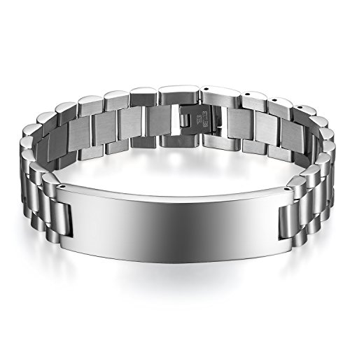 JewelryWe Schmuck Herren Armband Edelstahl Glänzend Poliert Armreif Armkette Uhrenarmband Geschenk Silber mit kostenlos - Männer Silber Armband Und Für Ring