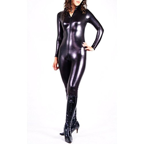 Rubberfashion Wetlook Catsuit, glänzender Wetlooksuit mit langen