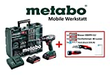 Metabo Mobile Werkstatt Edition C, Akkuschrauber Set (2X Akku 18V 2,0Ah, Ladegerät, Zubehör) + Bessey Cuttermesser, LED-Lampe, DIN A6 Block