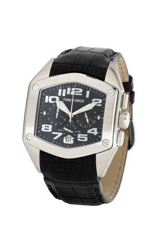 Time Force - TF3090M01 - Montre Homme - Quartz Analogique - Cadran Noir - Bracelet en Cuir Noir