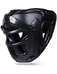BOOM Pro piel boxeo protector de cabeza con máscara extraíble Kick Boxing MMA UFC artes marciales casco (Free UK SHIPPING), large