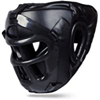 BOOM Prime Black Rex Leather Boxing Head Guard Grill Bar MMA Martial Arts Headgear Muay Thai Workout Practice Full Face Protector Kickboxing UFC Taekwondo Fighting Training Gear Sparring Helmet Sports (FREE UK SHIPPING)