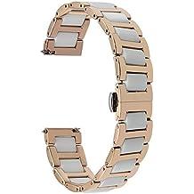 TRUMiRR 14mm cerámica + banda de reloj de acero inoxidable correa de liberación rápida para Relojes Pebble Time Round 14mm y Otros Relojes con Largo Ancho de 14mm