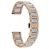 TRUMiRR 20mm Ceramic Watch Band Strap All Links Removable for Samsung Gear S2 Classic(SM-R732/R735),Moto 360 2 42mm Men 2015,Pebble Time Round 20mm