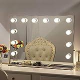 Chende Rahmenlos Schminkspiegel mit Beleuchtung Bühne Kosmetikspiegel, Schönheit Theaterspiegel groß, LED beleuchtet schminktisch Spiegel, Freie Glühbirnen (80cm X 60cm, Rahmenlos)