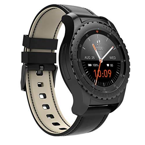 FSDRFRF Smart Uhr Bluetooth Smart Watch Unterstützung SIM/TF-Karte Männer Armbanduhr Sportuhr Fitness Tracker Pulsuhr Für Android IOS Phone-in Smart Watches, Schwarz (Quadband Handy Uhr)
