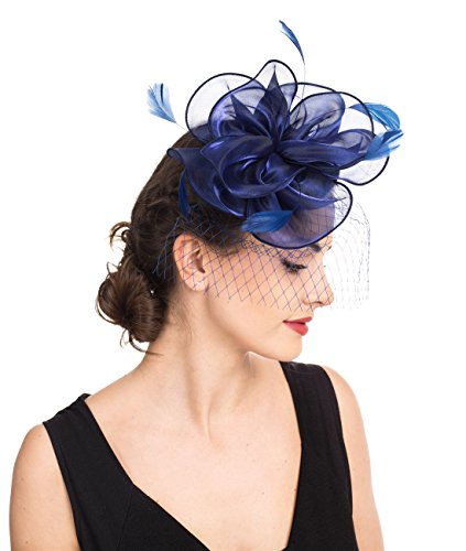 Fascinators Hut Cocktail Party Tee Kopfbedeckung Blume Mesh Organza Bänder Federn auf einem Stirnband und Gabel Clip für Mädchen und Damen (Floral Mesh Navy)