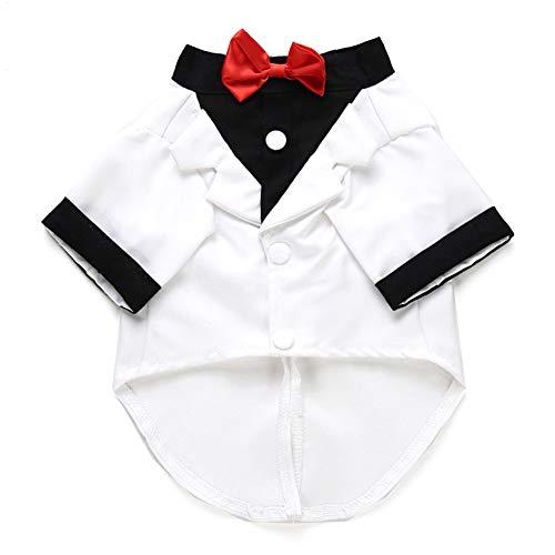 RIsxffp Haustier Hund Hochzeit Formale Fliege Smoking Anzug Jacke Party Bräutigam Kostüm Kleidung White M -