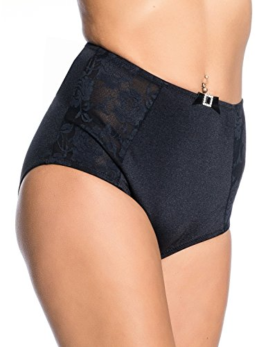 Kendindza Damen Spitze High Waist hoher Bund Unterhose Slip Panty Höschen - Hose mit Taillenmieder Slip Pants Panty - Strafft Bauch - Bauchweg - Bauchkompression (L, Schwarz) (Low-rise-schwangerschafts-hosen)