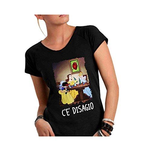 Social crazy t-shirt donna cotone fiammato scollo ampio a taglio vivo - principesse ubriache divertenti scritte frasi humor vip cool made in italy ... (xl, nero)