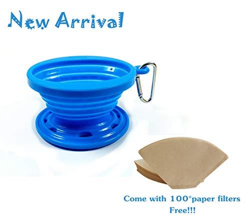 Kuke Faltbarer Silikon Kaffeefilter + Kaffeefilterpapier (eine Packung mit 100 Stück),Kaffee...