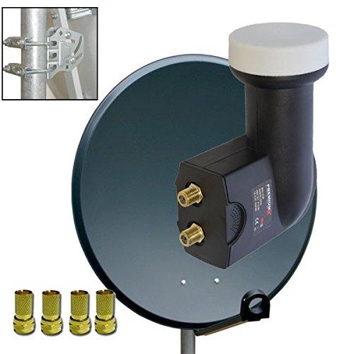 PremiumX 100cm Antenne Sat Spiegel Schüssel Stahl Anthratzit + Sat Twin LNB 0,1dB FULL HD 3D Digital für 2 Teilnehmer + 4x F-Stecker UHD 4K