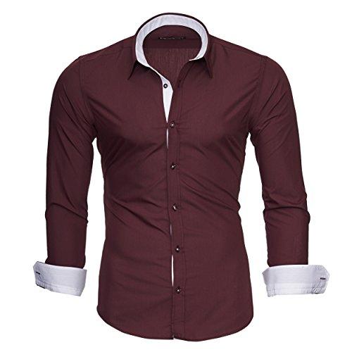 Merish Herren Langarm Hemd Kent Kragen Slim Fit Kontrastfarben Modell 202 Bordeaux