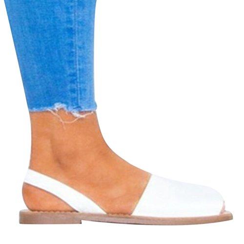 Zkooo sandali estivi peep-toe piatto sandalo per donne a basso espadrillas scarpe con laccio casual shoes bianco