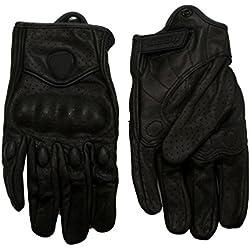Malloom Racing moto armadura protectora corta cuero guantes malla del montar a caballo de la motocicleta (XL)