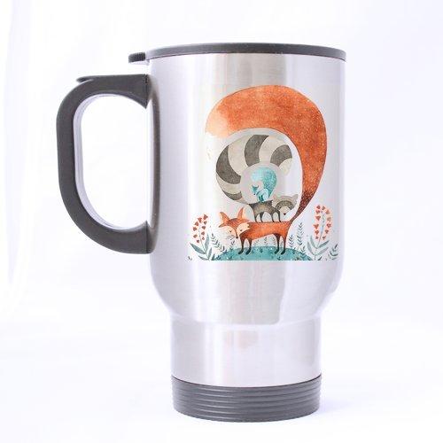 Generic personnalisé Motif Cute Fox (côté Twin) 396,9 gram en acier inoxydable Mug de voyage (Sliver) pour des vacances Cadeau ou cadeau d'anniversaire