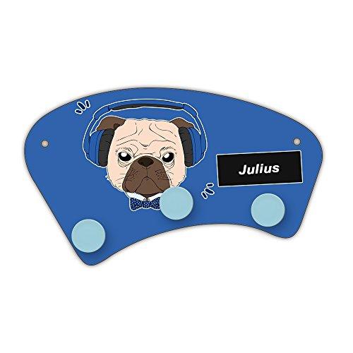 Wand-Garderobe mit Namen Julius und schönem Motiv - Mops mit Kopfhörer - für Jungen   Garderobe für Kinder   Wandgarderobe