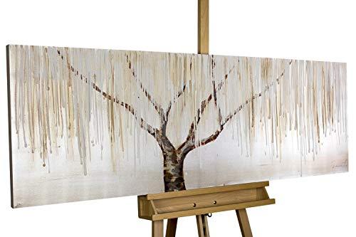 KunstLoft® Gemälde 'Trauerweide im Nebel' in 150x50cm | Leinwandbild handgemalt | Weiß abstrakt Baum Silber Schlafzimmer | Wandbild-Unikat | Acrylgemälde auf Leinwand | Acrylbild auf Keilrahmen