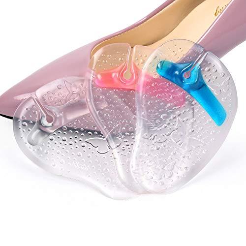 3 Paar Farbe Gelegentlich Clear Gel Schmetterling Muster Flip Flops Vorfußkissen Tanga Sandale Rutschfeste selbstklebende Pads Schmerzlinderung Einlegesohlen Schuhe Einsätze für Frauen Mädchen -