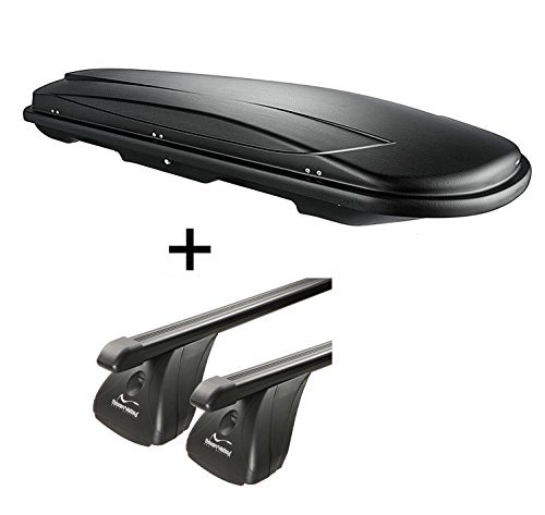 VDP Dachbox VDPJUXT500 500Ltr abschließbar schwarz + Stahl Dachträger Aurilis Original kompatibel mit Renault Espace (5Türer) ab 2015