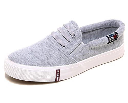 SHFANG Dame Schuhe Ein Pedal Lazy Schuhe Canvas Movement Bequeme Freizeit Studenten Schule Einkaufen Täglich Grey