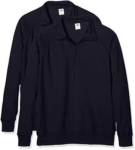 Fruit of the Loom Lightweight Felpa Uomo con zip sul collo (2 pezzi) Blu (dark navy)