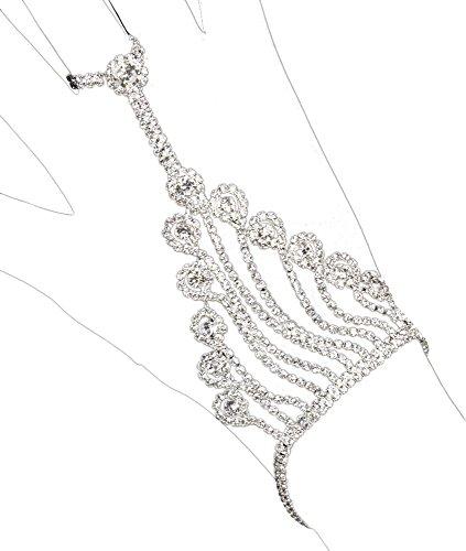 Handschmuck mit Strasselementen - Kristall - Glitzerndes Armband mit Ring zum Kostüm Prinzessin Fee Braut zu Fasching Mottoparty