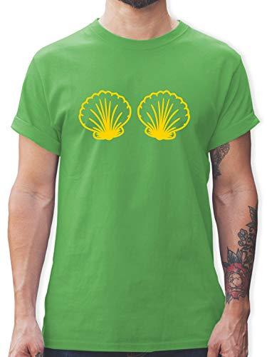 Karneval & Fasching - Meerjungfrau Kostüm gelb - S - Grün - L190 - Herren T-Shirt und Männer Tshirt (Herren Under The Sea Kostüm)
