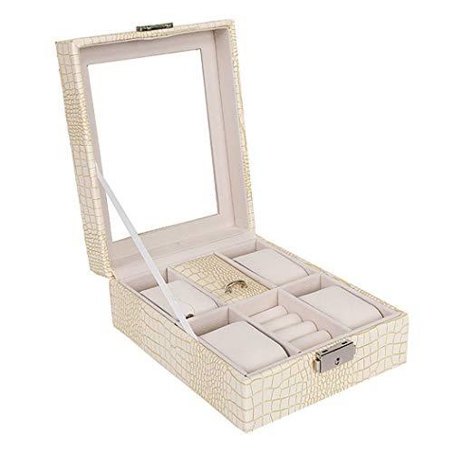 JunbosiSchmuck-Box, Uhr Schmuck Aufbewahrungsbox, Schmuck-Box, Geschenk für Mädchen und Frauen Schmuck-Etui,Beige,16.3x20.4x8cm -
