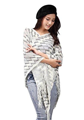 YouPue Casual Femmes Sweat Shirt En Vrac Manches Chauve Souris Poncho Tassels Creux Cape Veste Manteau Chaud Tricot Pull Cardigan Cloak Blanc1