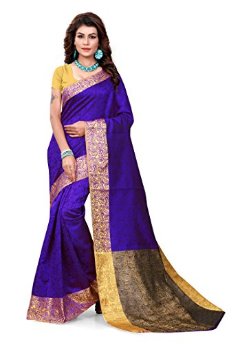 Ruchika Fashion Jaccard Saree With Blouse Piece(Jaccard_Blue_Blue Free Size)