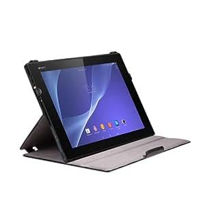 EasyAcc® Schutzhülle für Sony Xperia Tablet Z2 Hülle PU Leder Tasche Case Lederhülle mit Standfunktion / Auto Sleep Wake up (Schwarz, PU Leder, Protector)