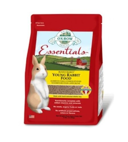 Oxbow Essentials Bunny Basics Young Rabbit Food 2,25 kg - Mangime in pellet a base di erba medica per giovani conigli attivi